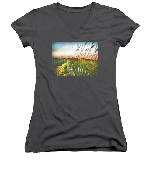 Women's V-Neck T-Shirt (Junior Cut) featuring the painting To The Sea by Lynne Jenkins