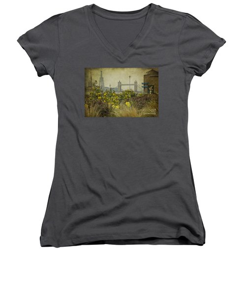 Women's V-Neck T-Shirt (Junior Cut) featuring the photograph Tower Bridge In Springtime. by Clare Bambers