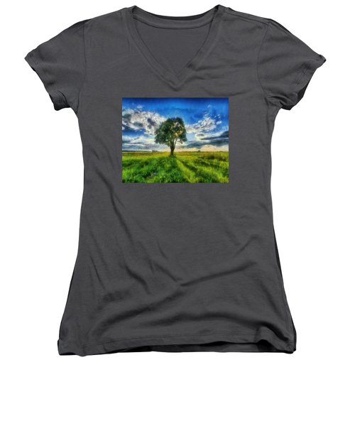 Women's V-Neck T-Shirt (Junior Cut) featuring the painting Tree Of Life by Joe Misrasi