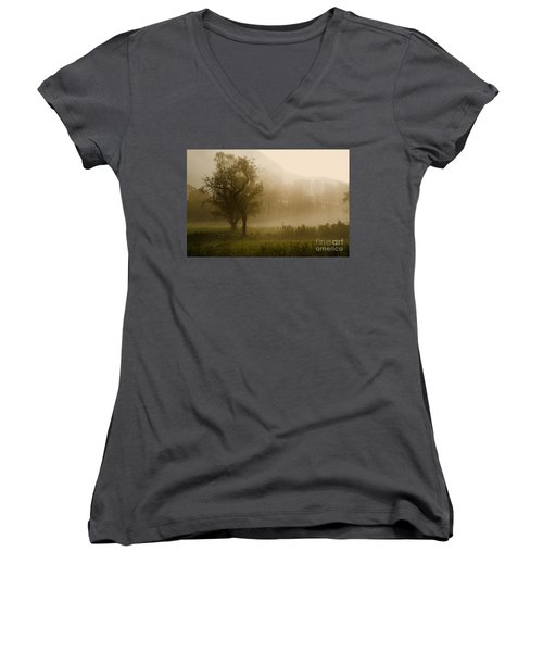 Trees And Fog Women's V-Neck