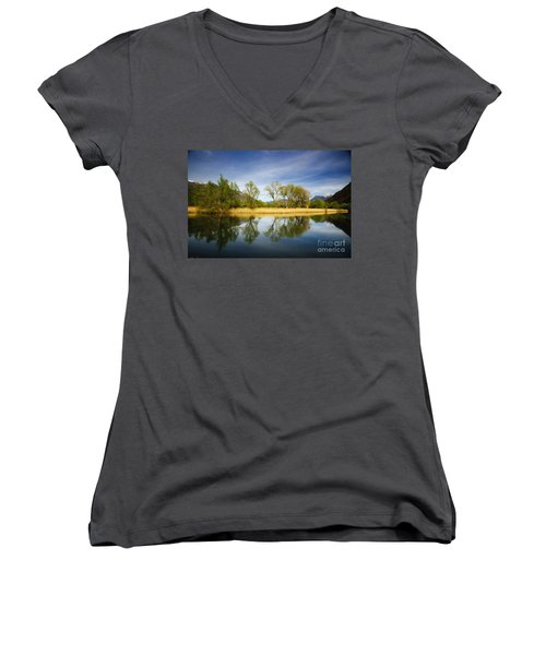 Trees Reflections On The Lake Women's V-Neck