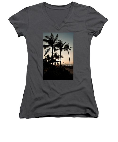 Tropical Island Silhouette Beach Sunset Women's V-Neck T-Shirt (Junior Cut) by Valerie Garner