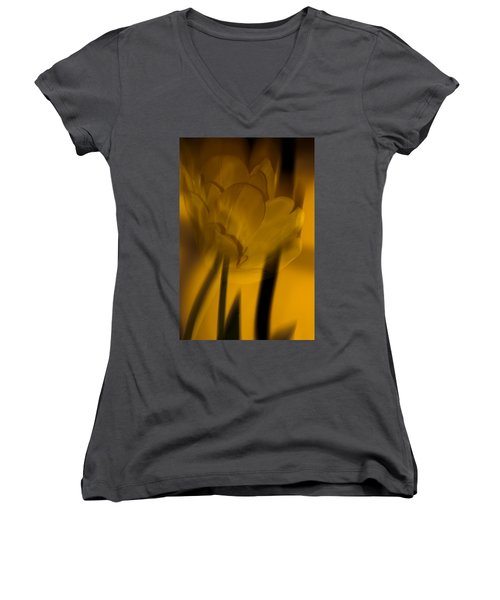 Women's V-Neck T-Shirt (Junior Cut) featuring the photograph Tulip Abstract by Ed Gleichman