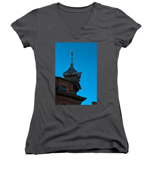 Women's V-Neck T-Shirt (Junior Cut) featuring the photograph Turret At Tampa Bay Hotel by Ed Gleichman