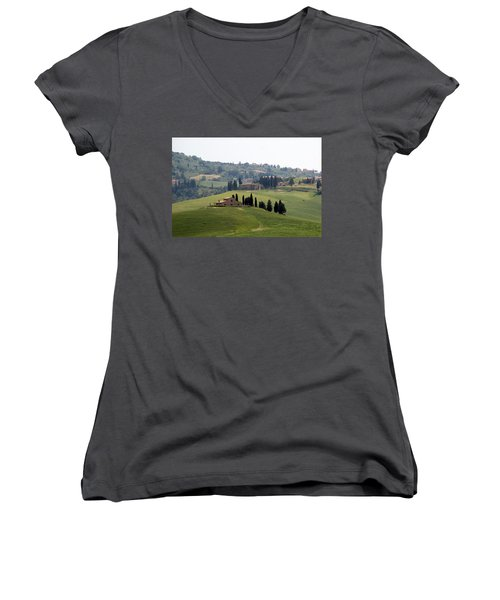 Women's V-Neck T-Shirt (Junior Cut) featuring the photograph Tuscany by Carla Parris