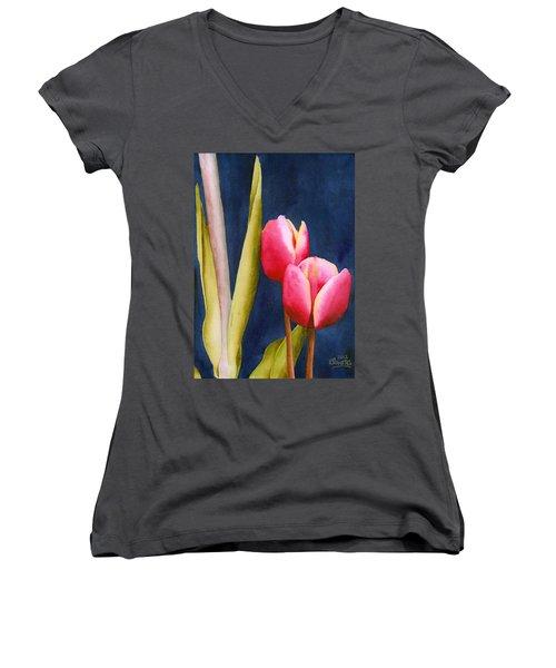 Two Tulips Women's V-Neck T-Shirt