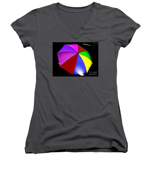 Women's V-Neck T-Shirt (Junior Cut) featuring the photograph Umbrella by Blair Stuart