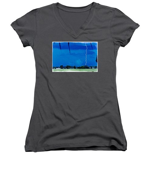 Women's V-Neck T-Shirt (Junior Cut) featuring the photograph Underneath- My Fears by Janie Johnson