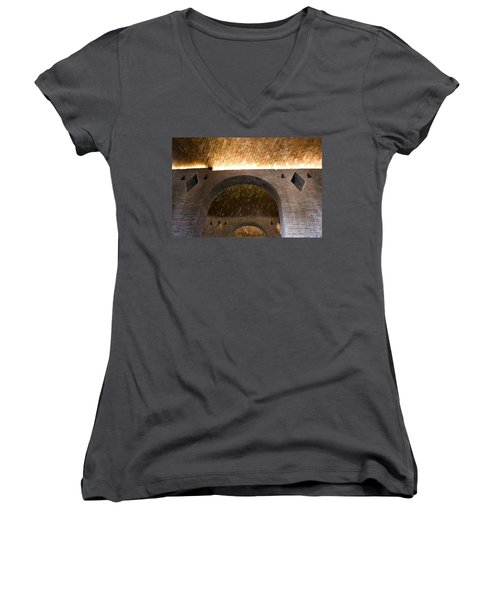 Women's V-Neck T-Shirt (Junior Cut) featuring the photograph Vaulted Brick Arches by Lynn Palmer
