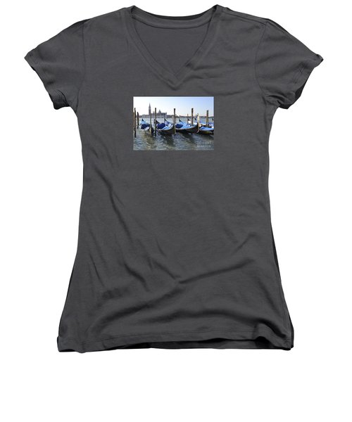 Women's V-Neck T-Shirt (Junior Cut) featuring the photograph Venice Gondolas by Rebecca Margraf