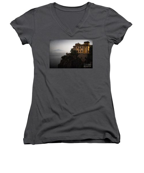 Vesuvius From Sorrento Women's V-Neck T-Shirt
