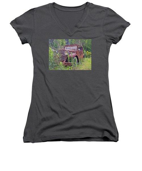 Women's V-Neck T-Shirt (Junior Cut) featuring the photograph Vintage Automobile by Susan Leggett