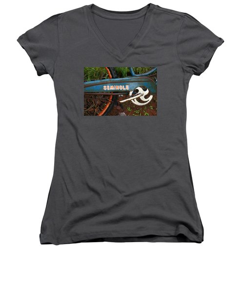 Hiawatha Seminole Vintage Bicycle Women's V-Neck (Athletic Fit)