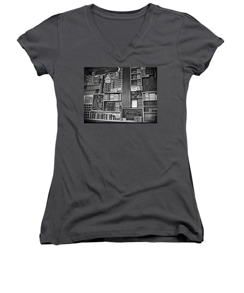 Vintage Bookcase Art Prints Women's V-Neck T-Shirt (Junior Cut) by Valerie Garner
