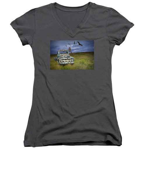 Vultures And The Abandoned Truck Women's V-Neck (Athletic Fit)