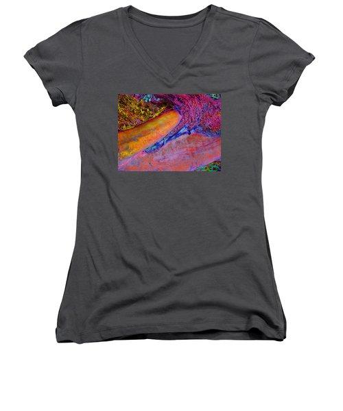 Women's V-Neck T-Shirt (Junior Cut) featuring the digital art Waking Up by Richard Laeton