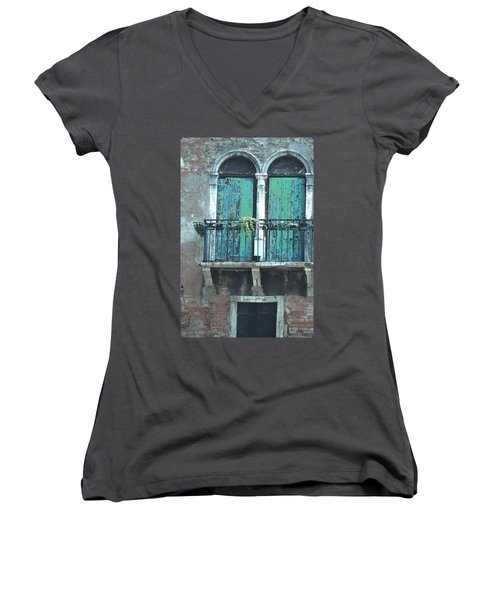 Women's V-Neck T-Shirt (Junior Cut) featuring the photograph Weathered Venice Porch by Tom Wurl