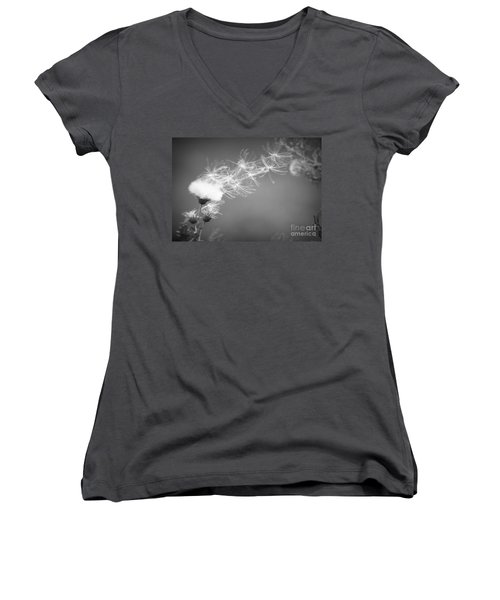 Women's V-Neck T-Shirt (Junior Cut) featuring the photograph Weed In The Wind by Deniece Platt