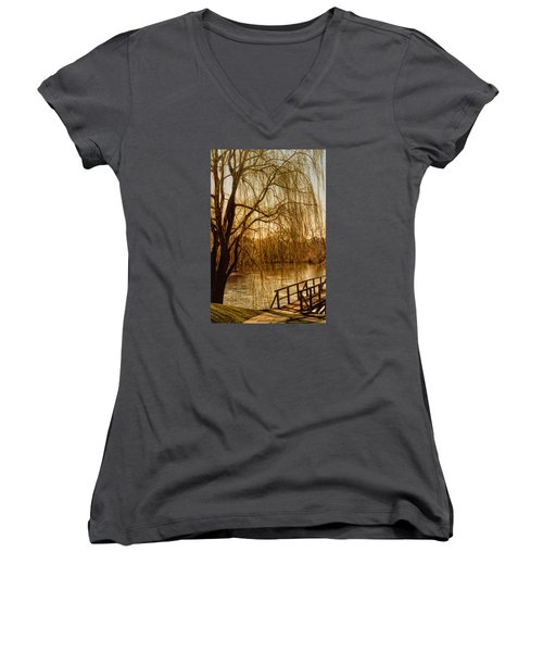 Women's V-Neck T-Shirt (Junior Cut) featuring the photograph Weeping Willow And Bridge by Barbara Middleton