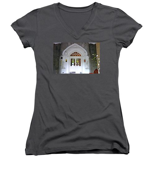 Women's V-Neck T-Shirt (Junior Cut) featuring the photograph Welcome To The Manor by Charlie and Norma Brock