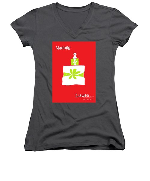 Women's V-Neck T-Shirt (Junior Cut) featuring the digital art Welsh Merry Christmas Red by Barbara Moignard
