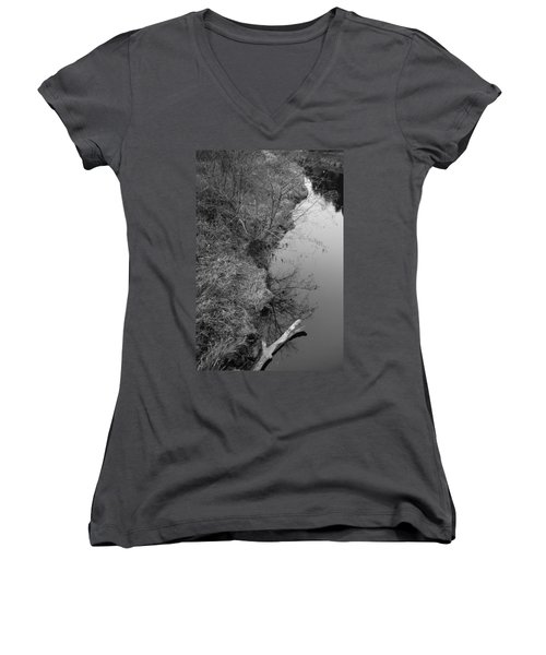 Women's V-Neck T-Shirt (Junior Cut) featuring the photograph White Branch Riverside  by Kathleen Grace