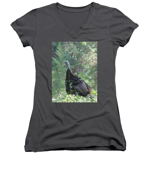Wild Turkey 6380 3x4 Women's V-Neck T-Shirt (Junior Cut) by Maciek Froncisz