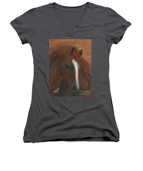 Women's V-Neck T-Shirt (Junior Cut) featuring the painting Wildfire by Barbie Batson