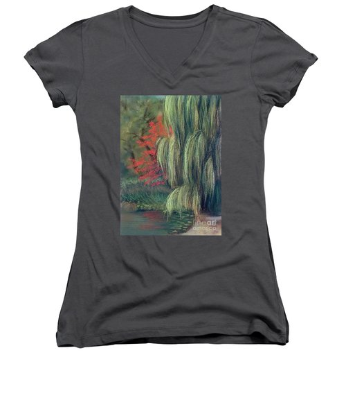 Women's V-Neck T-Shirt (Junior Cut) featuring the drawing Willow Tree - Hidden Lake Gardens -tipton Michigan by Yoshiko Mishina