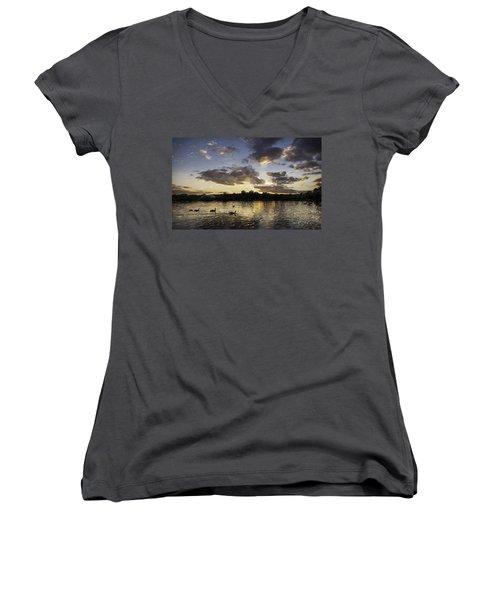 Women's V-Neck T-Shirt (Junior Cut) featuring the digital art Wimbledon Sunset by Matt Malloy