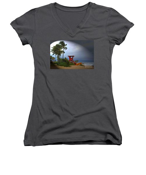 Windy Day In Haleiwa Women's V-Neck T-Shirt (Junior Cut) by Mark Gilman