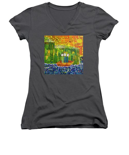 Women's V-Neck T-Shirt (Junior Cut) featuring the painting Wink Blink And Nod by Donna Howard