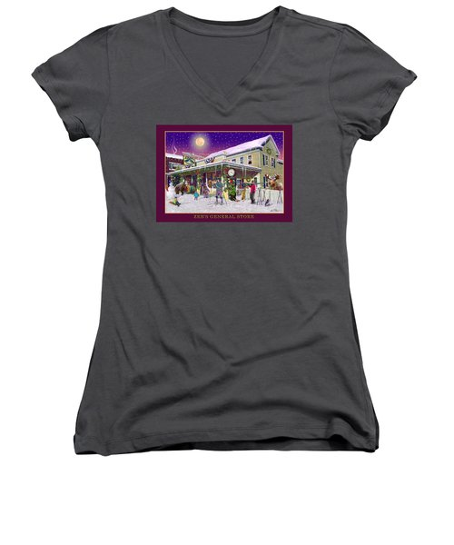 Winter At Zebs General Store In North Conway Nh Women's V-Neck