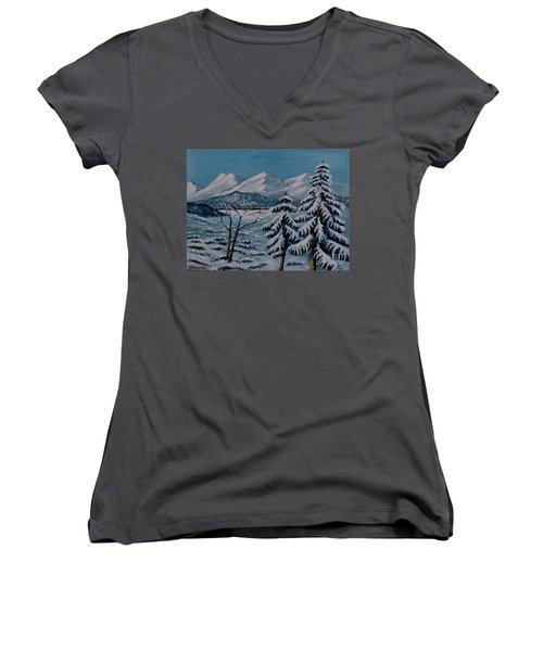 Winter Landscape Women's V-Neck (Athletic Fit)