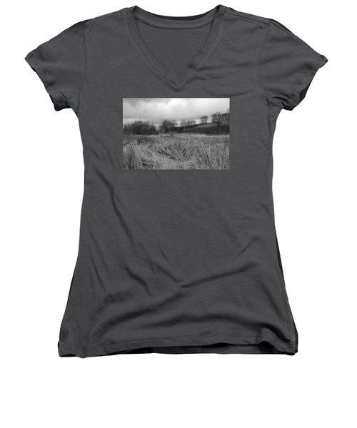 Women's V-Neck T-Shirt (Junior Cut) featuring the photograph Winters Breeze by Kathleen Grace