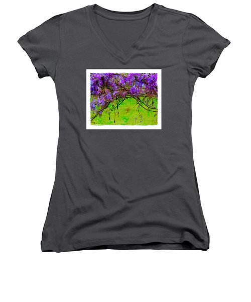 Women's V-Neck T-Shirt (Junior Cut) featuring the photograph Wisteria Bower by Judi Bagwell