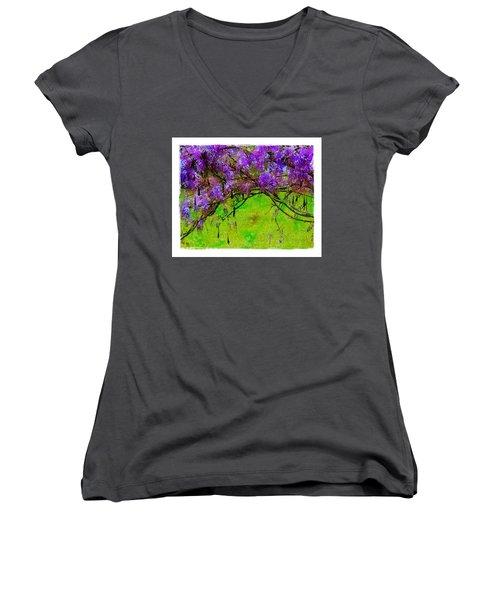 Wisteria Bower Women's V-Neck T-Shirt (Junior Cut) by Judi Bagwell