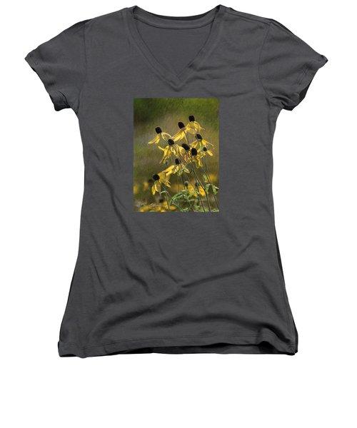 Yellow Coneflowers Women's V-Neck T-Shirt (Junior Cut) by Bruce Morrison