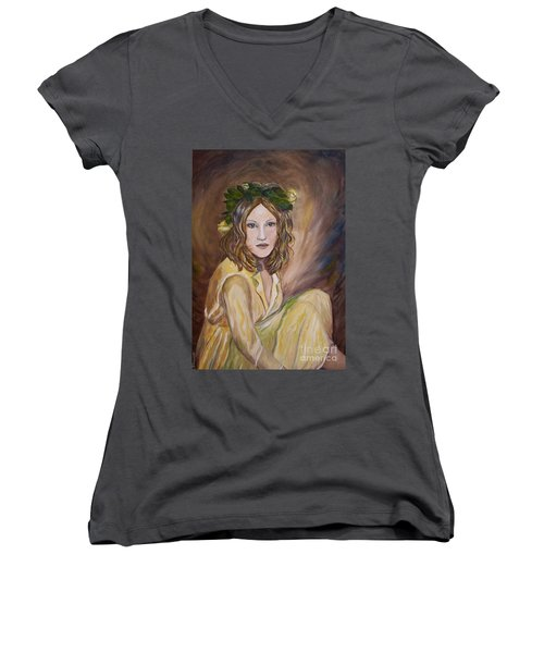 Women's V-Neck T-Shirt (Junior Cut) featuring the painting Yellow Rose by Julie Brugh Riffey