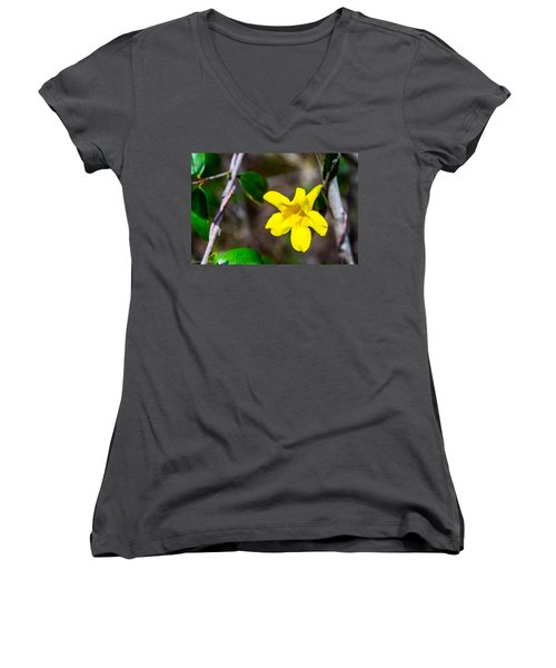 Women's V-Neck T-Shirt (Junior Cut) featuring the photograph Yellow by Shannon Harrington