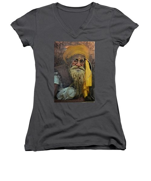 Yellow Turban At The Window Women's V-Neck T-Shirt (Junior Cut)