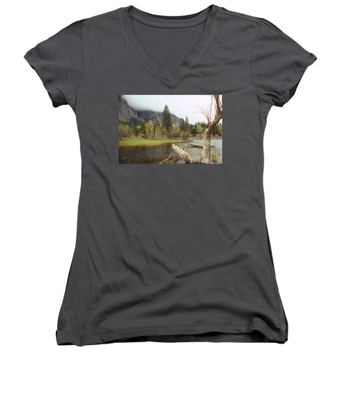 Yosemite Women's V-Neck T-Shirt (Junior Cut) by Mark Greenberg