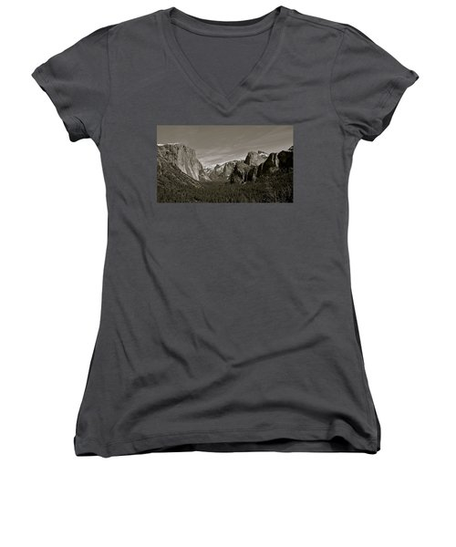 Women's V-Neck T-Shirt (Junior Cut) featuring the photograph Yosemite Valley by Eric Tressler