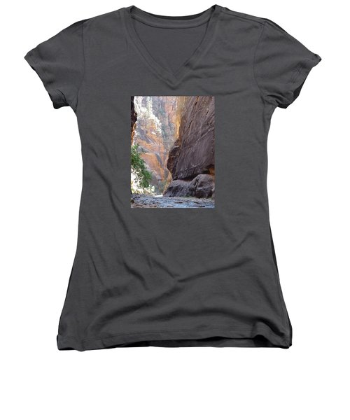 Women's V-Neck T-Shirt (Junior Cut) featuring the photograph Zion Awe by Elizabeth Sullivan