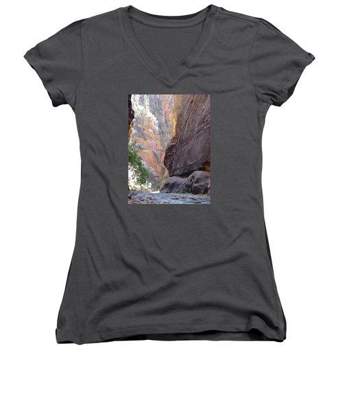 Zion Awe Women's V-Neck T-Shirt (Junior Cut) by Elizabeth Sullivan