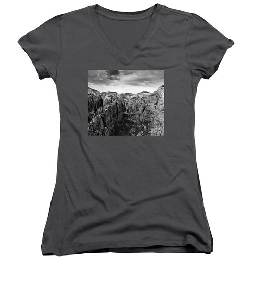 Zion National Park - View From Angels Landing Women's V-Neck (Athletic Fit)