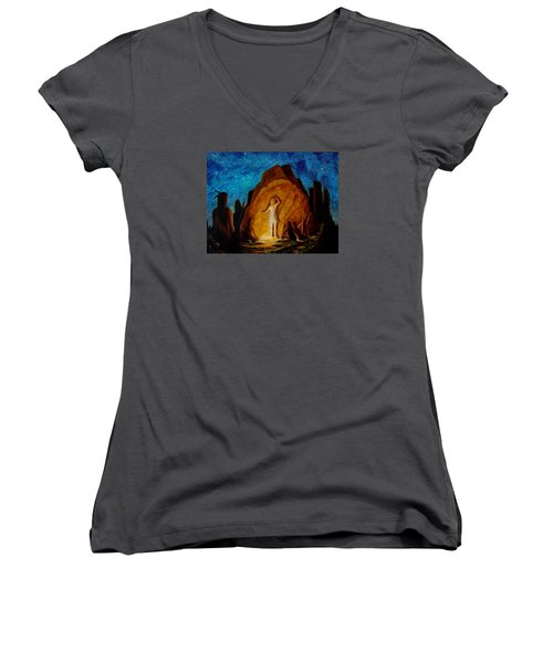 . . . They Elected Her To Tell Their Story . . . Women's V-Neck T-Shirt (Junior Cut) by Matt Konar