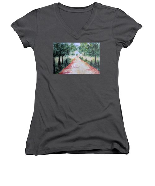 A Country Road Women's V-Neck T-Shirt (Junior Cut) by Vicki  Housel