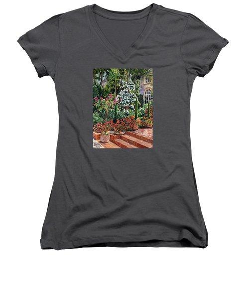 A Garden Approach Women's V-Neck T-Shirt (Junior Cut) by David Lloyd Glover