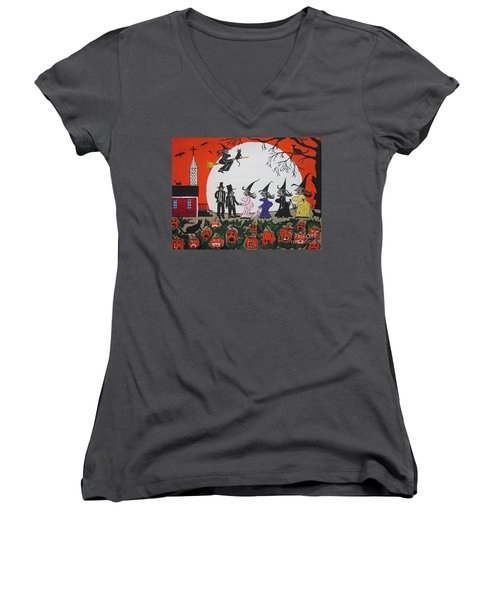 A Halloween Wedding Women's V-Neck T-Shirt (Junior Cut) by Jeffrey Koss